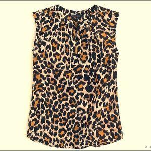 J.Crew Cuffed-sleeve top in leopard print